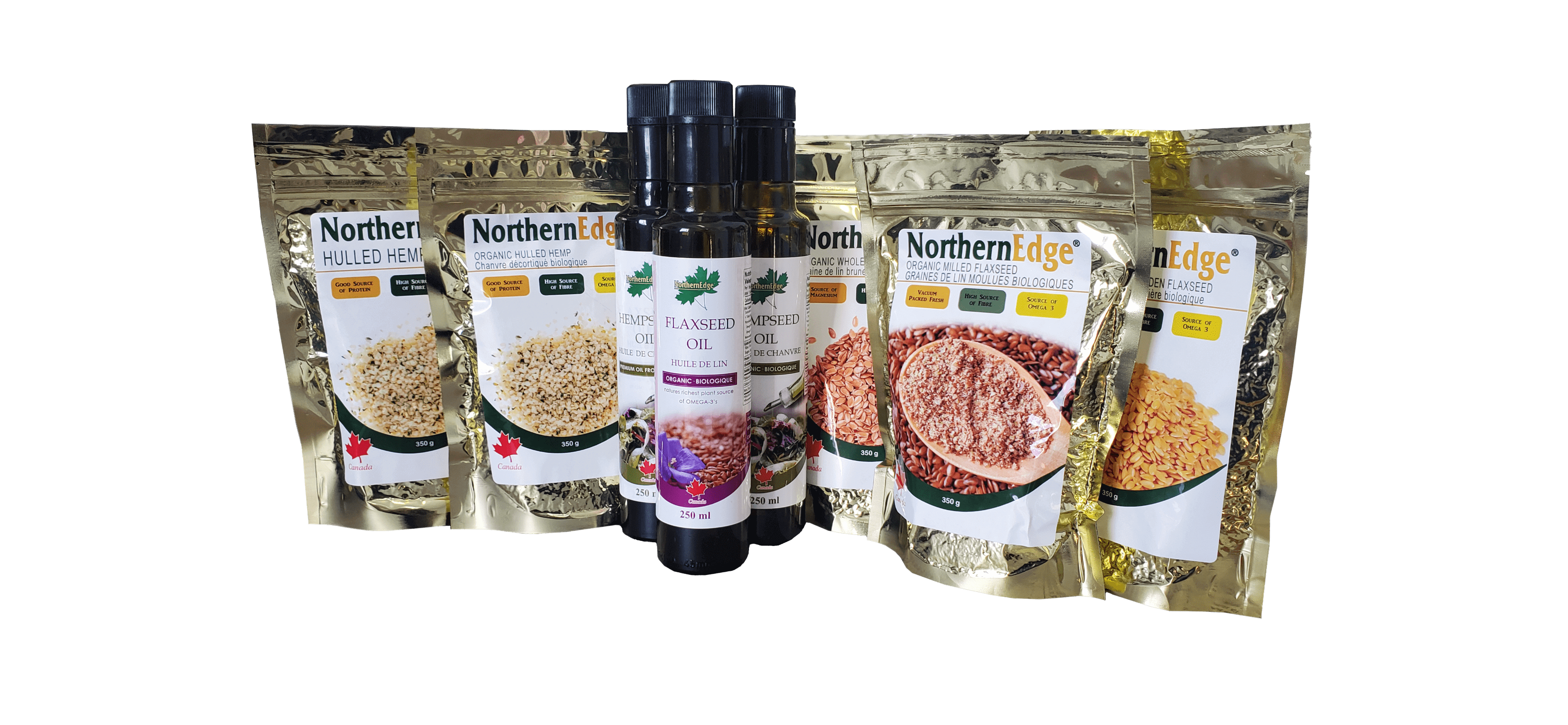 Northern Nutraceuticals Inc. Organic Hemp Seed and Flax Seed and flaxseed milled, whole, ground, hearts, and oil